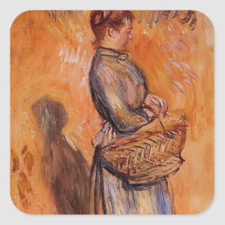 Mujer campesina de Pedro Renoir- en paisaje Calcomanías Cuadradases