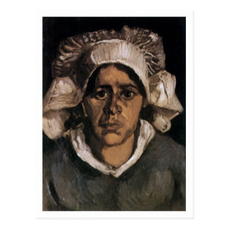 Mujer campesina de Van Gogh con el casquillo blanc Postal