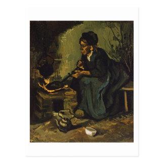 Mujer campesina por la chimenea, Vincent van Gogh Postales