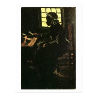 Mujer campesina que toma la comida, Vincent van Tarjeta Postal