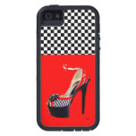 MUJER CANDENTE Y A CUADROS ' S WOW SHOE/TOUGH XTRE iPhone 5 CÁRCASA