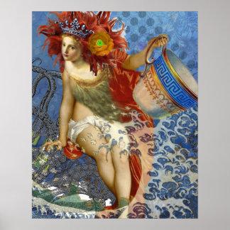 Mujer caprichosa gótica del acuario de la sirena póster