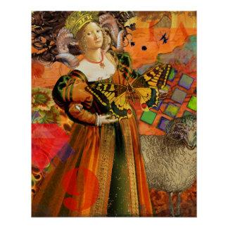 Mujer caprichosa roja gótica de la fantasía del perfect poster