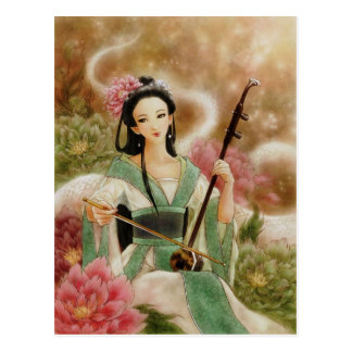 Mujer china que juega la postal de Erhu