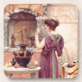 Mujer clásica de la bella arte posavaso