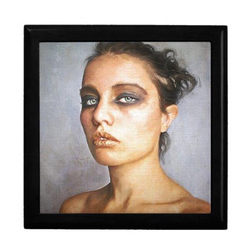 Mujer clásica de la belleza de pintura del retrato joyero cuadrado grande