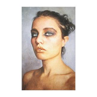 Mujer clásica de la señora de la pintura del retra lienzo envuelto para galerías
