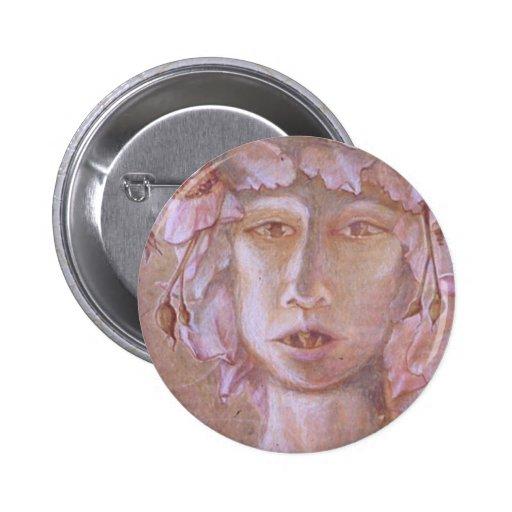 Mujer color de rosa <Outsider Art> Pin Redondo 5 Cm