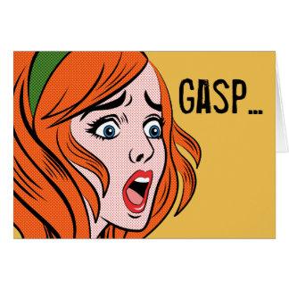 Mujer cómica retra del estilo en un pánico tarjeta de felicitación