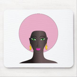 Mujer con Afro rosado y arte abstracto de los ojos Alfombrilla De Raton
