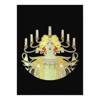 """Mujer con Bec Auer de las luces Invitación 5.5"""" X 7.5"""""""