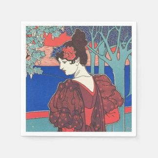 Mujer con bella arte del vintage de Nouveau del Servilleta De Papel