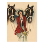 Mujer con dos caballos postal
