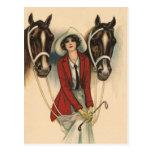 Mujer con dos caballos postales