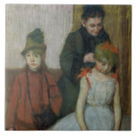 Mujer con dos niñas (en colores pastel) azulejo cuadrado grande