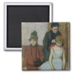 Mujer con dos niñas (en colores pastel) imán cuadrado