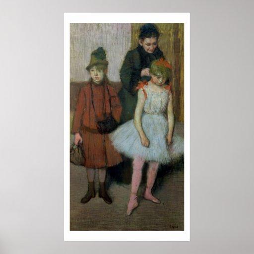 Mujer con dos niñas (en colores pastel) póster