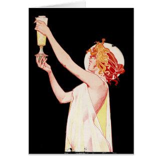Mujer con el ajenjo en fondo negro tarjeta de felicitación