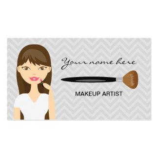 Mujer con el artista de maquillaje largo del pelo tarjetas de visita