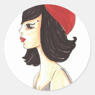 Mujer con el Barret rojo Pegatina Redonda
