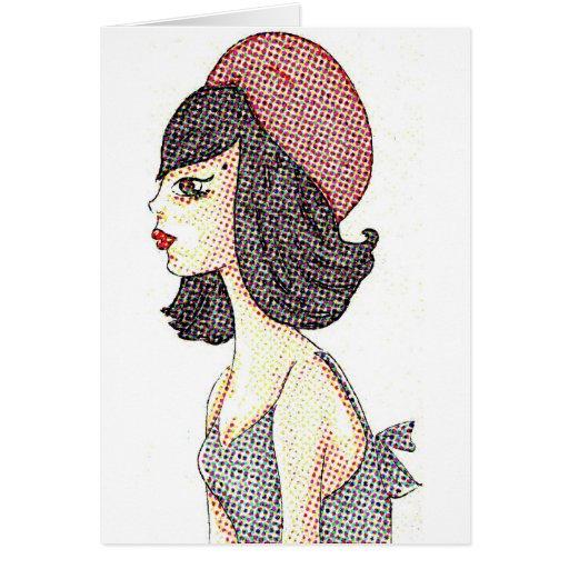 Mujer con el Barret rojo Tarjetón