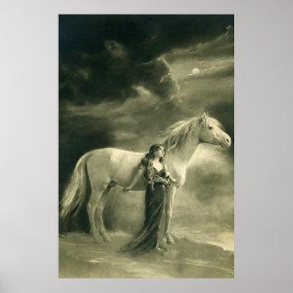 Mujer con el caballo blanco impresiones