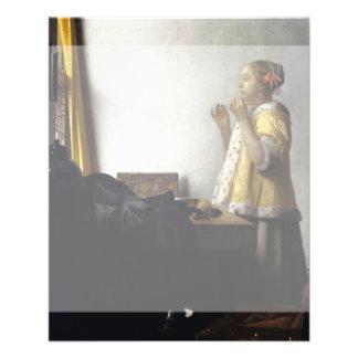 """Mujer con el collar de la perla de Juan Vermeer Folleto 4.5"""" X 5.6"""""""