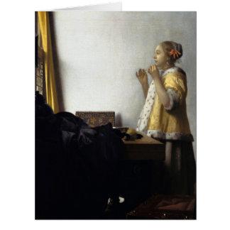 Mujer con el collar de la perla de Juan Vermeer Felicitación