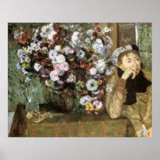 Mujer con el crisantemo impresiones