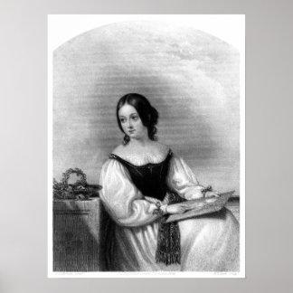 Mujer con el dibujo posters