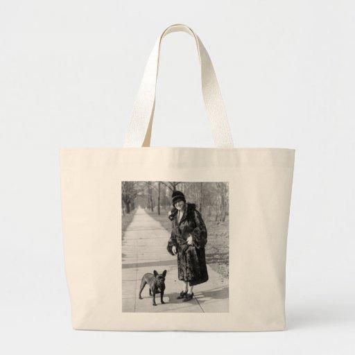 Mujer con el dogo francés, los años 20 bolsas de mano