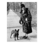 Mujer con el dogo francés, los años 20 postal