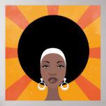 Mujer con el ejemplo afro del retrato del pelo póster