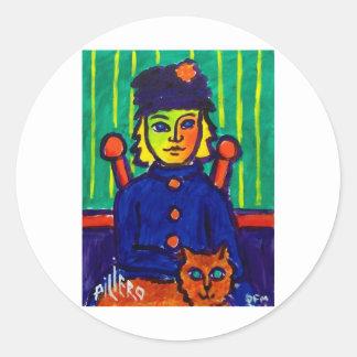 Mujer con el gato 31 por Piliero Pegatina Redonda