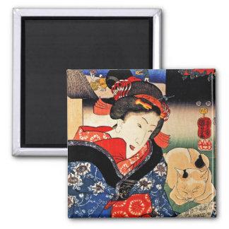 Mujer con el gato - arte japonés - Utagawa Kuniyos Imán Cuadrado