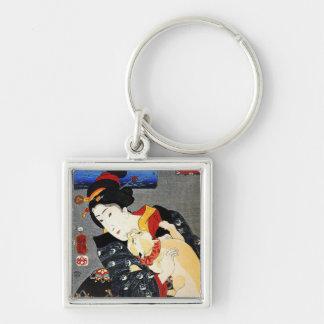 Mujer con el gato - arte japonés - Utagawa Kuniyos Llavero Personalizado