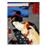 Mujer con el gato - arte japonés - Utagawa Kuniyos Postales
