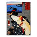 Mujer con el gato - arte japonés - Utagawa Tarjeta De Felicitación