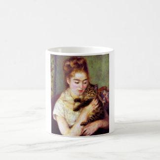 Mujer con el gato, Auguste Renoir Taza Clásica