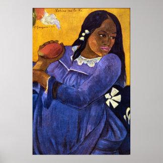 Mujer con el mango de Eugène Enrique Paul Gauguin Póster