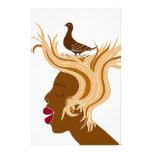 Mujer con el pájaro papeleria personalizada