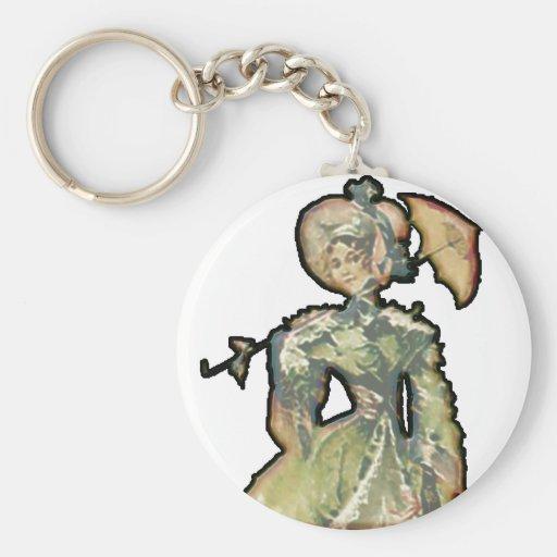 Mujer con el paraguas llavero personalizado