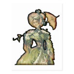 Mujer con el paraguas postales