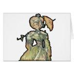 Mujer con el paraguas tarjetón