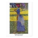 Mujer con el parasol de Jorte Seurat Postal
