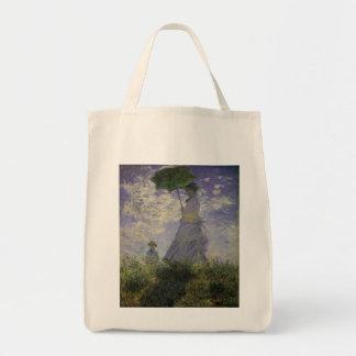 Mujer con el parasol de Monet, impresionismo del Bolsa Lienzo