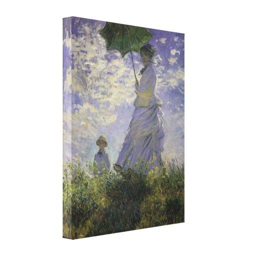 Mujer con el parasol de Monet, impresionismo del Lona Estirada Galerias