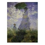 Mujer con el parasol de Monet, impresionismo del Postal