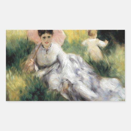 Mujer con el parasol de Pedro Renoir Pegatina Rectangular