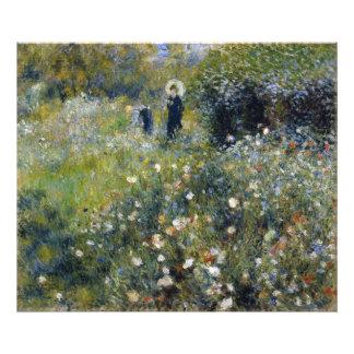Mujer con el parasol en un jardín por Renoir Cojinete